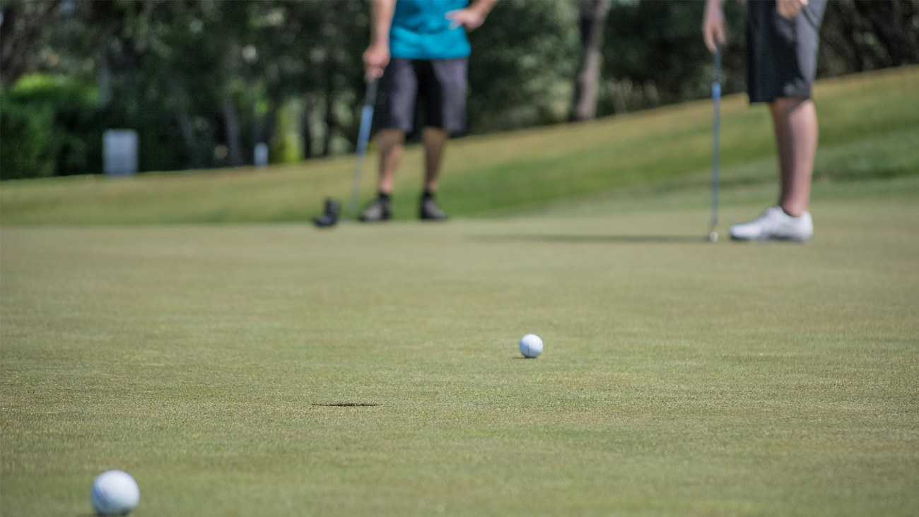Players on the putting green.