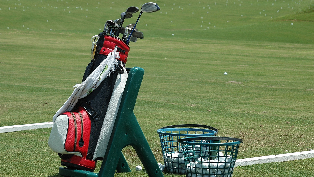 A set of golf clubs in a bag