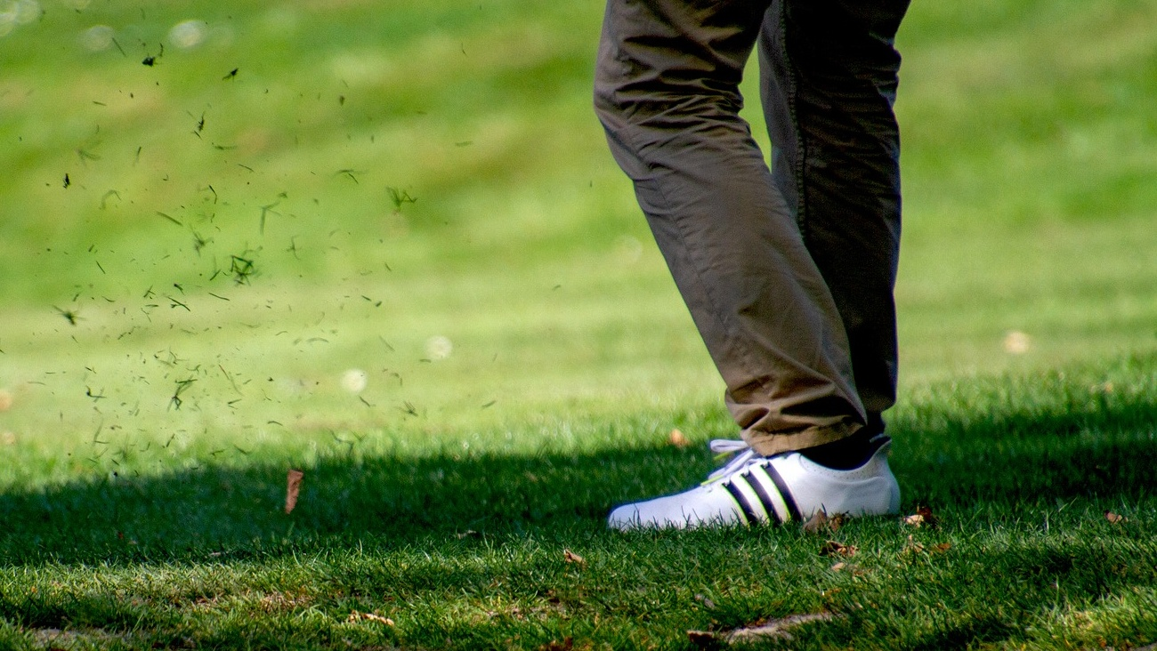 Picture of some golf shoes being used.